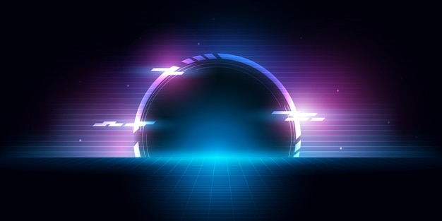 Abstract futuristic half circle tunnel with bright light to future.