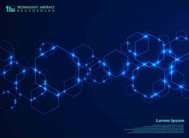 Abstract futuristic hexagon shape pattern