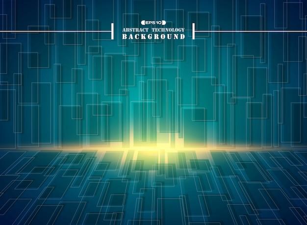 Abstract of futuristic hi tech blue square geometric pattern