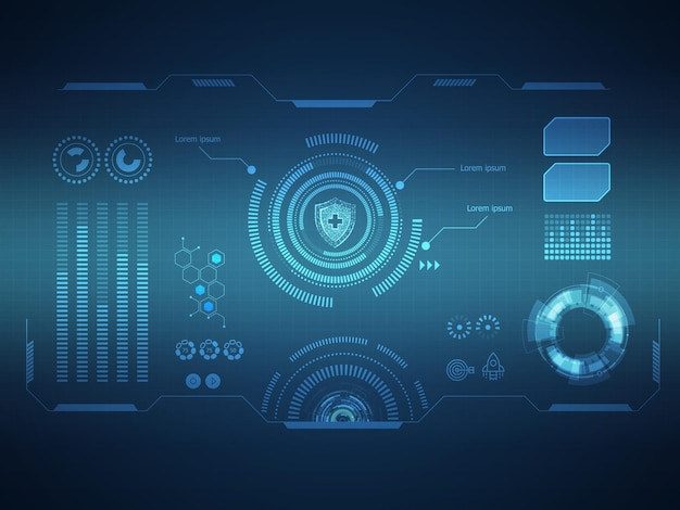 Abstract futuristic hud display interface sci fi technology background vector illustration