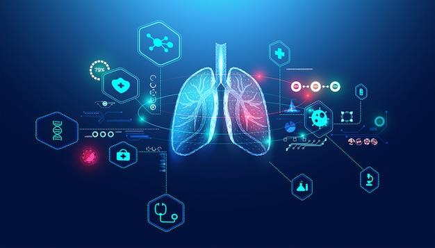 接続する抽象的な未来的な人間の肺ワイヤーフレームブルーデジタルポイント