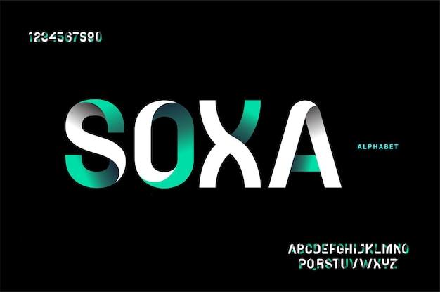 추상 미래의 현대 기술. 현대 알파벳 글꼴