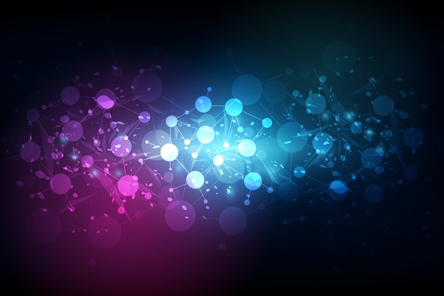 Abstract futuristic - molecules technology with linear and polygonal background