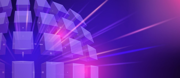 Abstract futuristic neon illustration with 3d cubes and rays on a blue background. vector wallpaper for digital technology concept design.