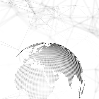 Abstract futuristic network shapes. high tech hud background, connecting lines and dots, polygonal linear texture. world globe on gray. global network connections, geometric design, dig data concept.
