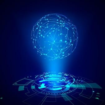 추상 미래 개체 hud 요소입니다. 3d 홀로그램 디스플레이는 글로벌 네트의 구로 구성됩니다. 과학 및 기술 그림입니다. 벡터