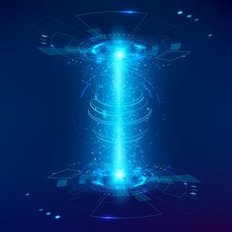 抽象的な未来的なオブジェクトのhud要素。 3dホログラムディスプレイは、グローバルネットの球体で構成されています。ベクトル科学技術イラスト