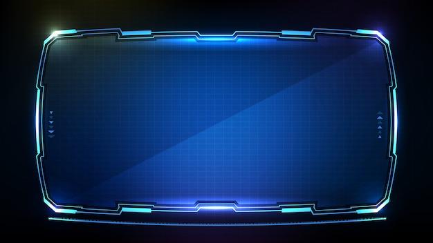 青く光るテクノロジーの抽象的な未来sfフレームhudui