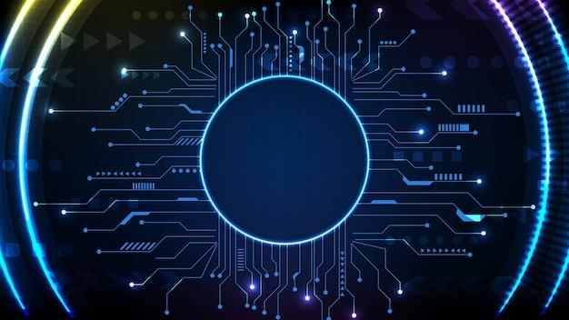回路ラインとサークルインターフェイスsfフレームhuduiの抽象的な未来