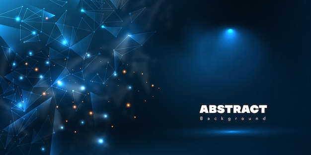 Abstract futuristic polygonal with blank stage