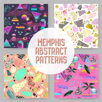 Abstract futuristic seamless patterns set. geometric shapes with golden elements background. vintage hipster fashion 80s-90s design.