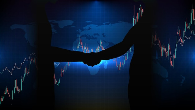 Abstract futuristic technology background of agreement handshake business stock market