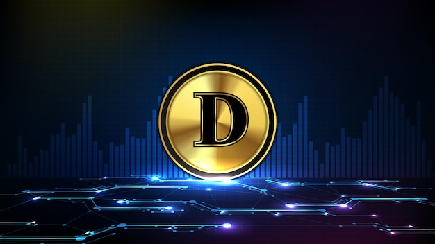 Abstract futuristic technology background of doge coin digital cryptocurrency and market graph volume indicator