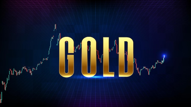 Abstract futuristic technology background of gold market graph candle stick