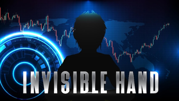 Abstract futuristic technology background of invisible hand stock market