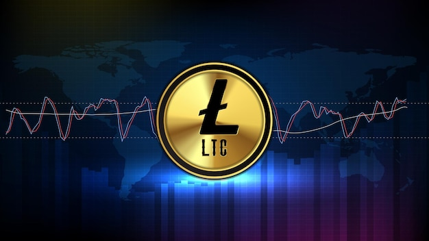 Abstract futuristic technology background of ltc litecoin digital cryptocurrency and stochastic market graph volume indicator