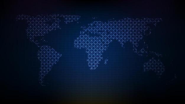 Абстрактный футуристический технологический фон голубой цифровой карты мира