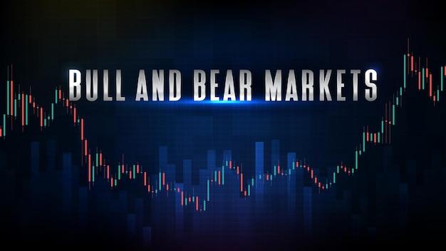Абстрактный футуристический технологический фон биржевого рынка быков и медведей и гистограммы свечей зеленого и красного цветов
