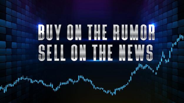 Абстрактный футуристический технологический фон покупки по слухам на продажу на новостном текстовом фондовом рынке