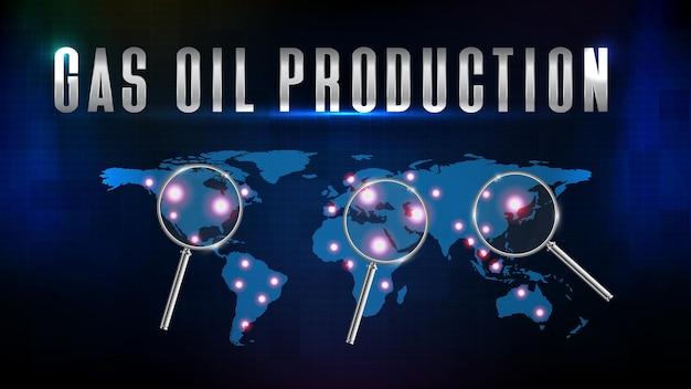 Абстрактный футуристический технологический фон добычи газа и нефти с увеличительным стеклом и картой мира