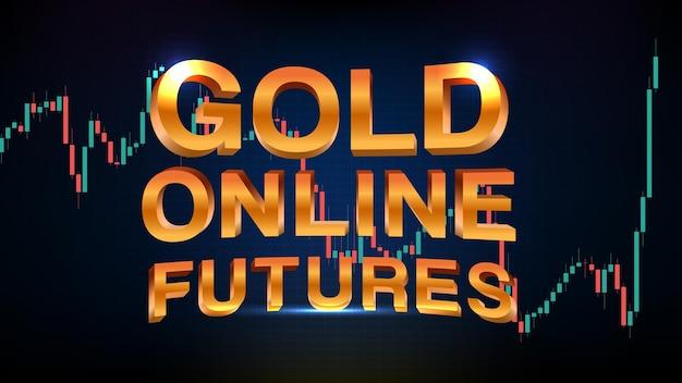 Абстрактный футуристический технологический фон золотых онлайн-фьючерсов и индикатор объема графика рынка