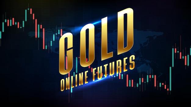 금 온라인 선물 및 시장 그래프 볼륨 표시기의 추상 미래 기술 배경