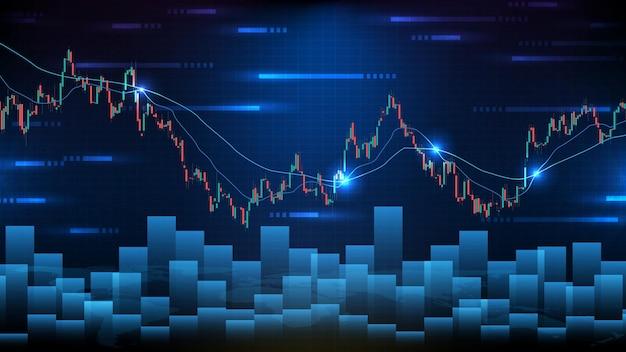 Абстрактный футуристический технологический фон отстающих боковых акций и свечей гистограммы гистограммы зеленый и красный