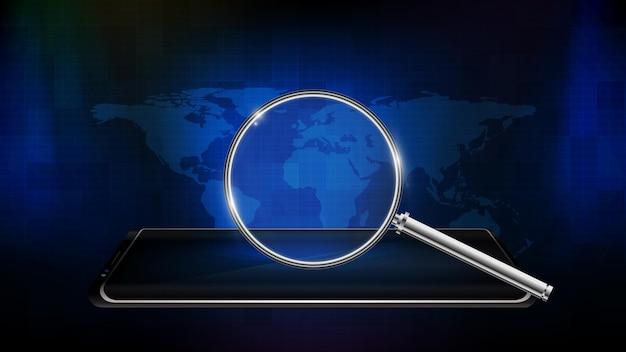 虫眼鏡と世界地図を備えたスマート携帯電話の抽象的な未来技術の背景
