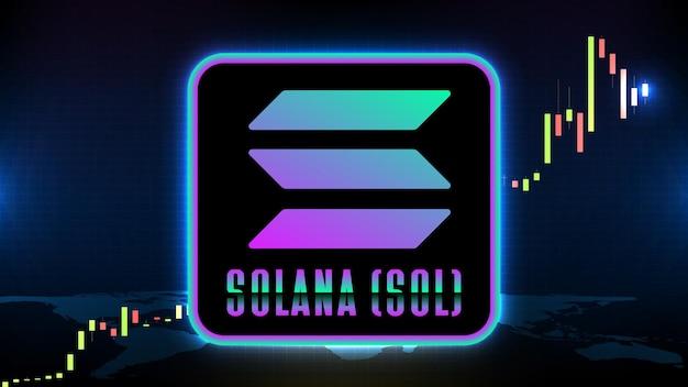 Абстрактный футуристический технологический фон solana (sol) график цен, график, монета, цифровая криптовалюта