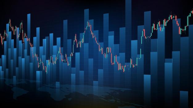 Абстрактный футуристический технологический фон фондового рынка и свечная гистограмма гистограммы зеленый и красный