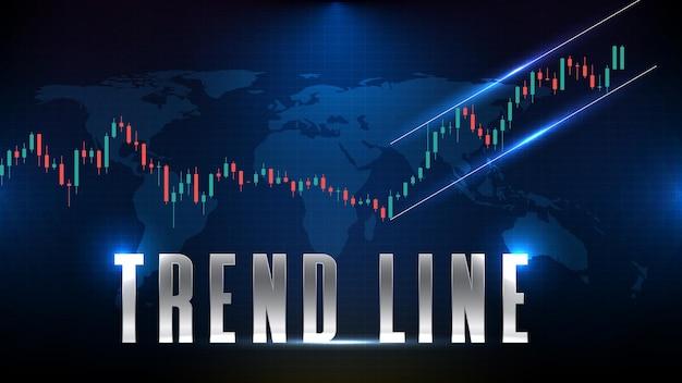 Абстрактный футуристический технологический фон линии тренда, спидлайна, фондового рынка тренда канала