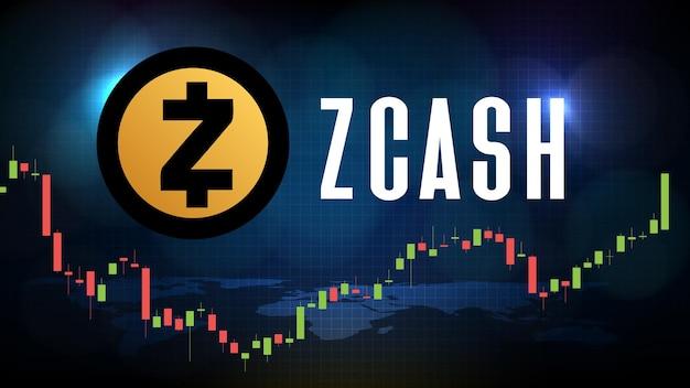 Абстрактный футуристический технологический фон zcash (zec) ценовая диаграмма монеты цифровой криптовалюты