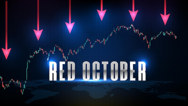Abstract futuristic technology background of red october stock market and candle stick bar chart graph green and red
