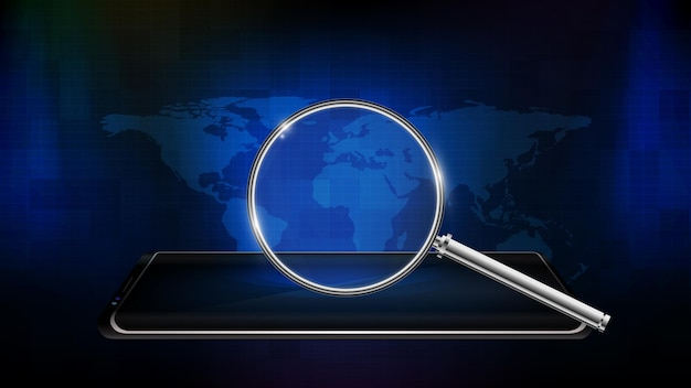 Abstract futuristic technology background of smart mobile phone with magnifying glass and world map