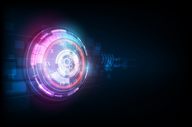 Abstract futuristic technology background with clock  and time machine
