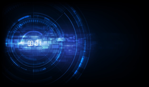 デジタル番号タイマーの概念とカウントダウン、透明な抽象的な未来技術の背景