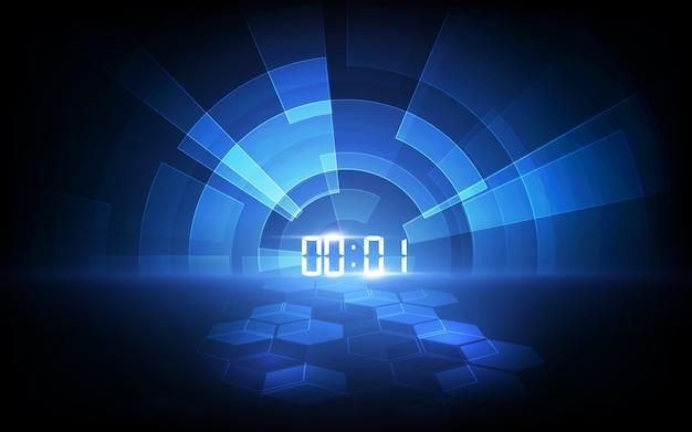 デジタル番号タイマーのコンセプトとカウントダウンと抽象的な未来技術の背景