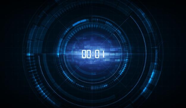 デジタル番号タイマーの概念とカウントダウンと抽象的な未来技術の背景。