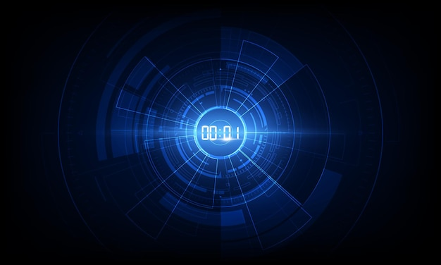 Abstract futuristic technology background with digital number timer concept and countdown.
