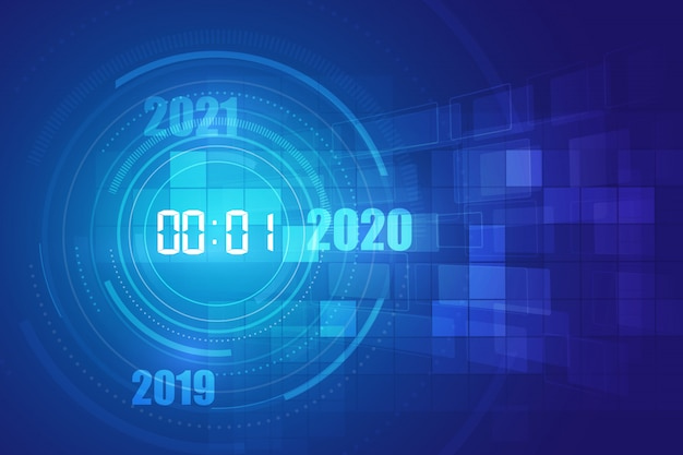 Abstract futuristic technology background with digital number timer  and countdown,  transparent