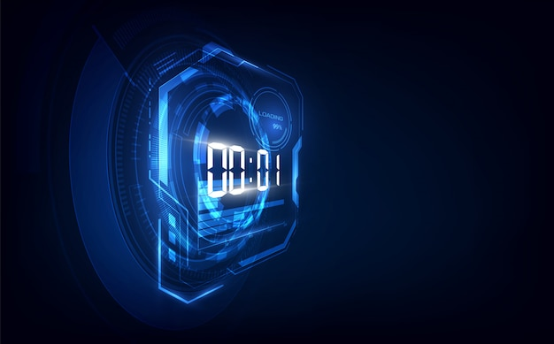 Abstract futuristic technology background with digital number timer and countdown