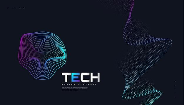 Абстрактный футуристический фон технологии с пунктирной волной и эффектом лучей. подходит для обложки, презентации, баннера или целевой страницы