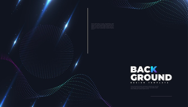 Abstract futuristic technology background with dotted wave and rays effect. suitable for cover, presentation, banner or landing page