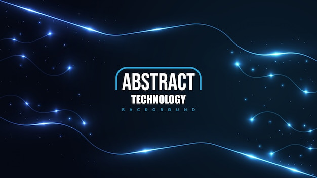Abstract futuristic technology background with glowing neon light.