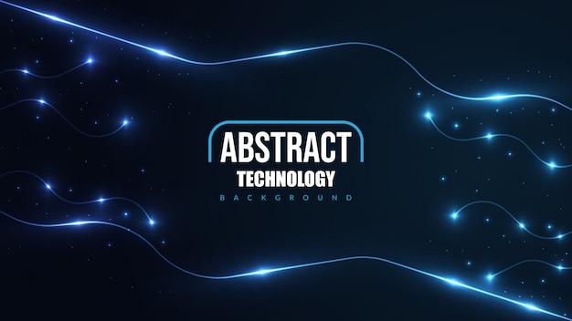 輝くネオンの光と抽象的な未来技術の背景。