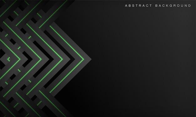 緑のネオンの輝く線と抽象的な未来技術の黒い背景