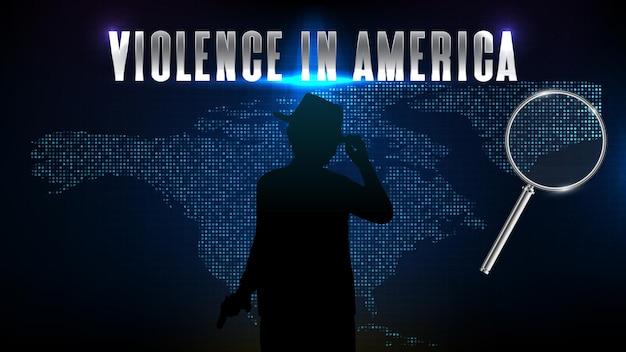 실루엣 형사 폭력 범죄와 북미 지도의 추상 미래 기술 파란색 배경