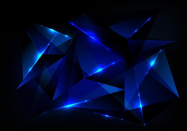 파란색 다각형 패턴 및 진한 파란색 배경에 발광 조명 추상 미래 기술 개념. 디지털 연결 구조. 벡터 일러스트 레이 션