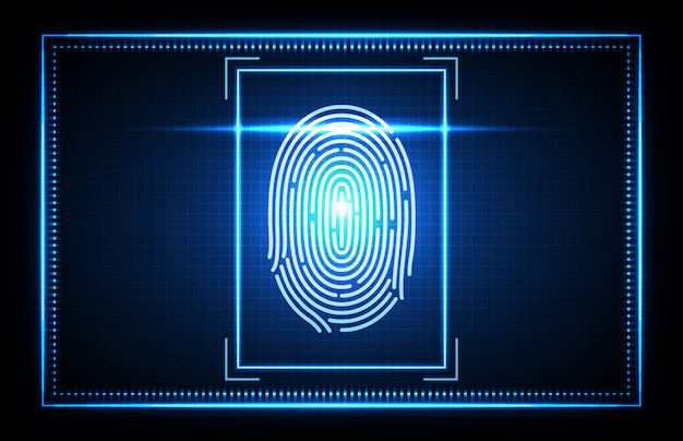 Abstract of futuristic technology fingerprint, finger scan biometrics identification access