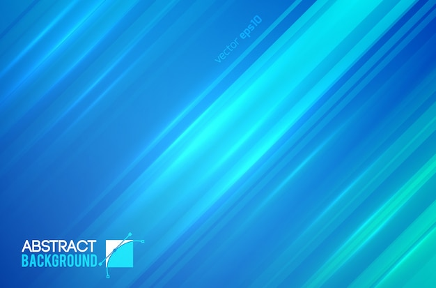 Abstract futuristic template with straight diagonal lines and light effects on blue illustration